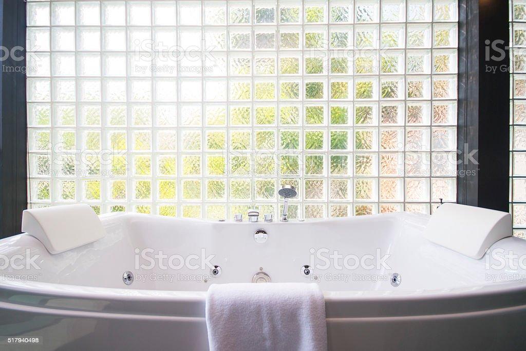 bathtub white ceramic in modern bathroom stock photo
