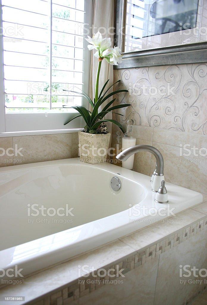 Bathtub with White Flower royalty-free stock photo
