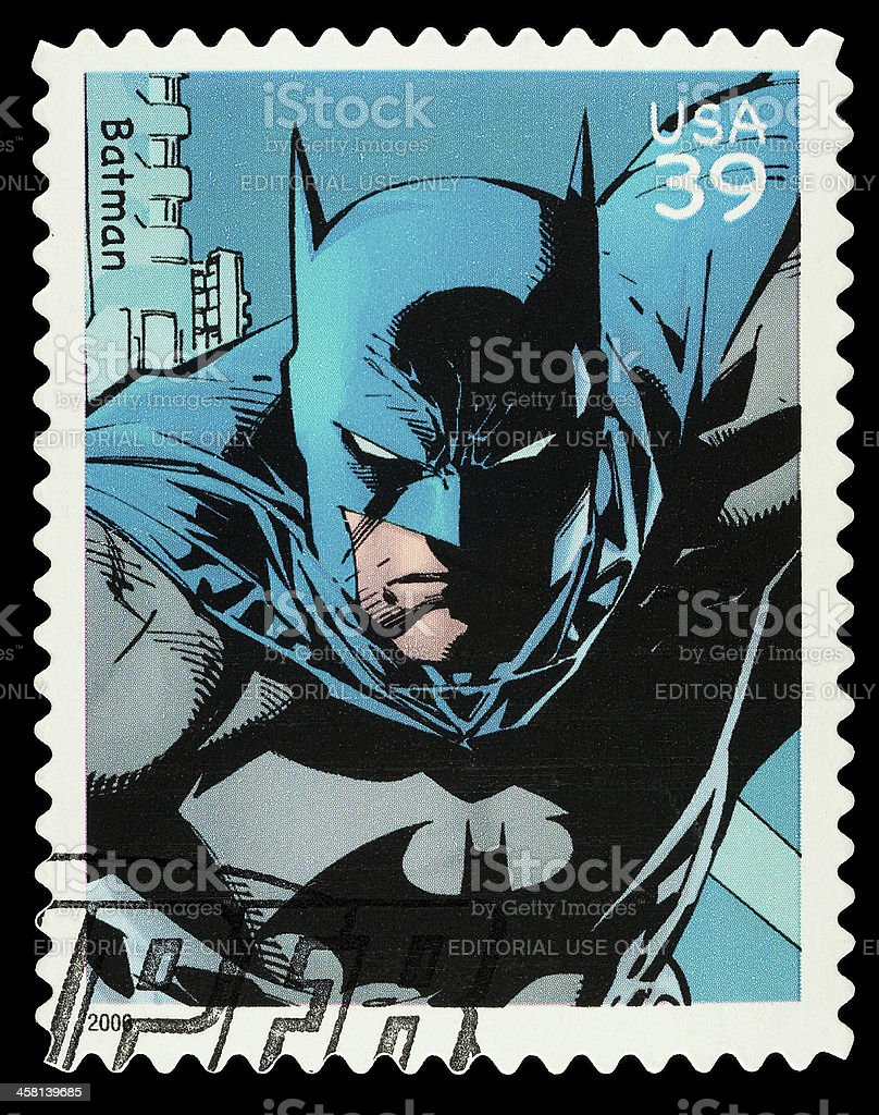 Batman Superhero Postage Stamp stock photo