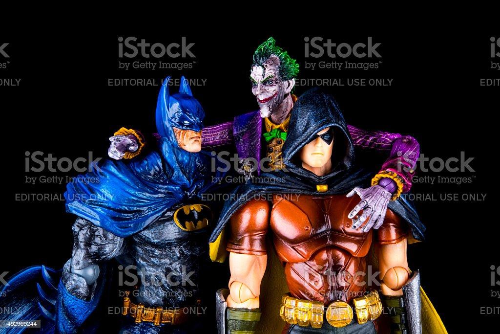 Batman with Robin and the Joker stock photo