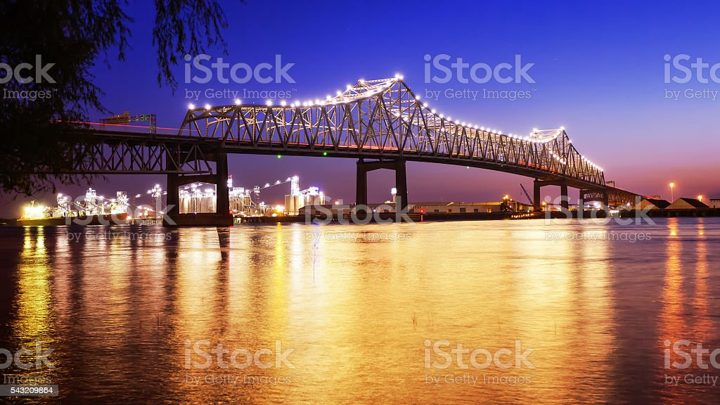Baton Rouge Bridge Over Mississippi River in Louisiana at Night stock photo