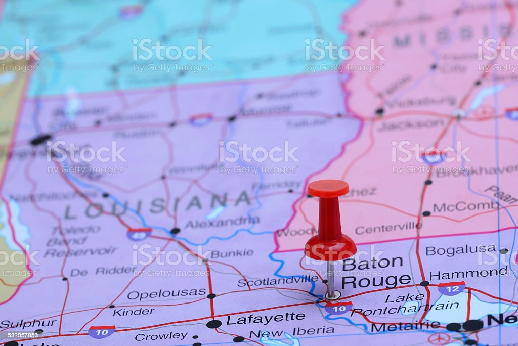 Baton Rouge pinned on a map of USA stock photo