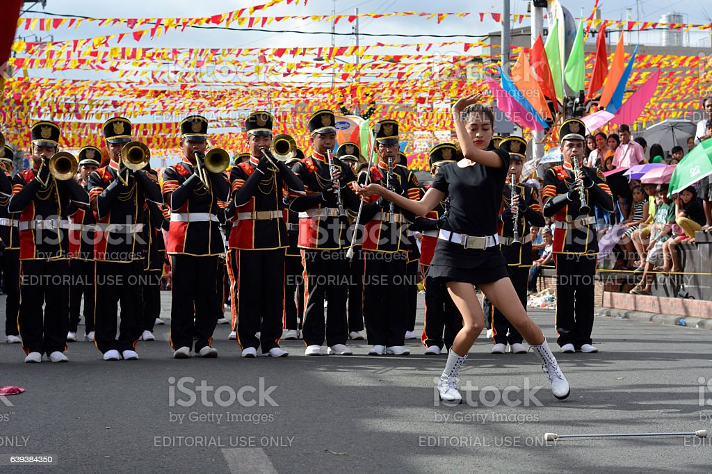 baton tossing up of majorette baton twirling exhibition stock photo