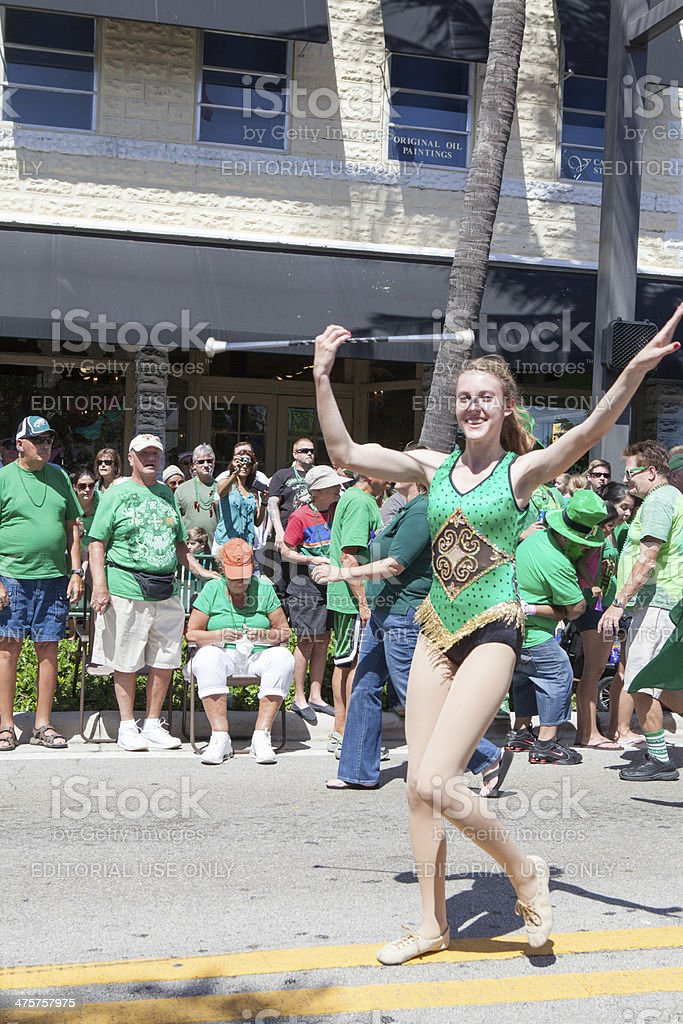 Baton twirler at the St. Patrick's Day parade  rr stock photo
