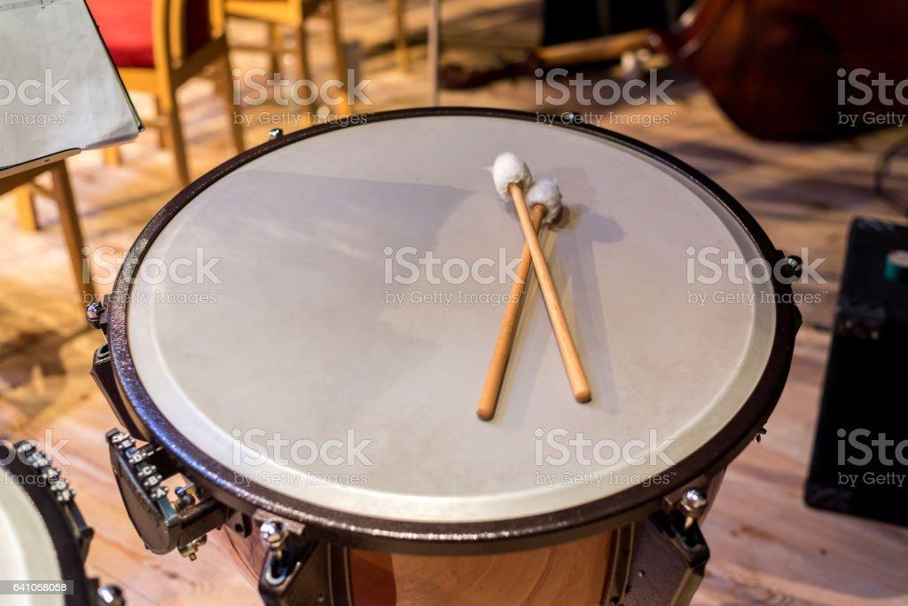 Batons on the drum stock photo