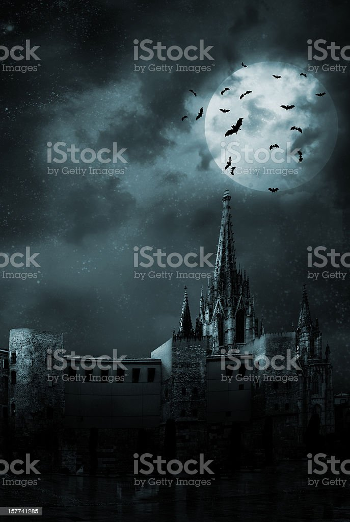 Bats in the empty town stock photo