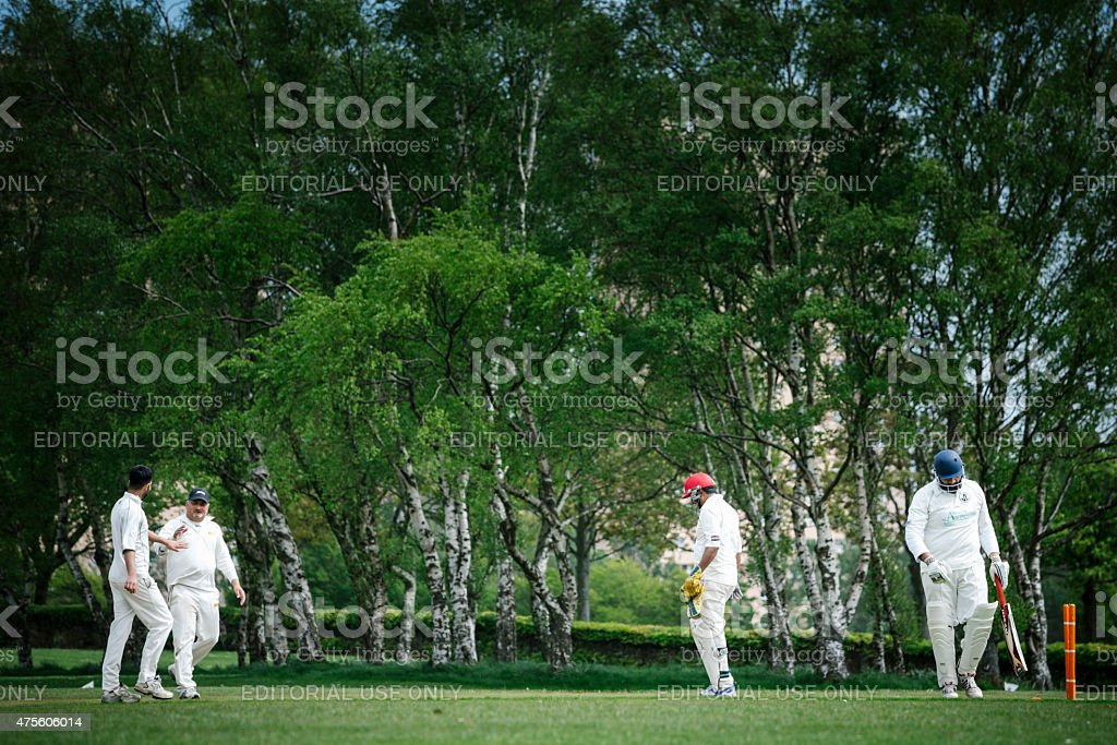 Batsman is Dismissed in a Local Club Cricket Match stock photo