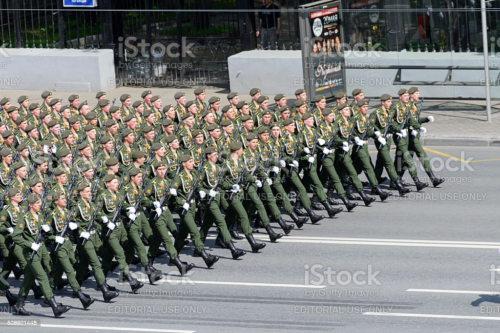 Battalion of paratroopers marching stock photo