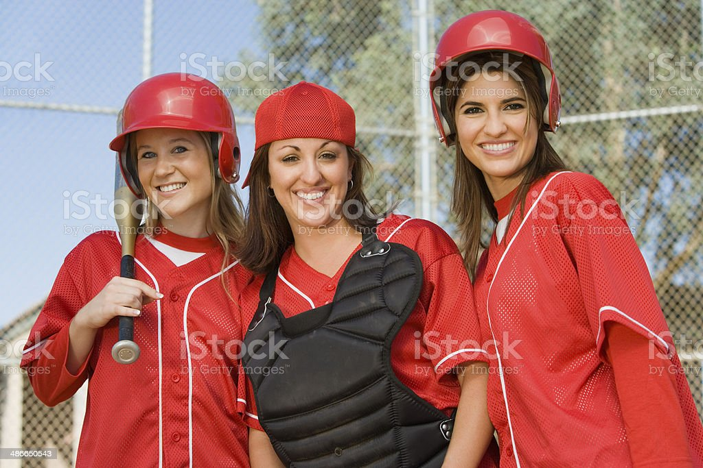 Batter, Catcher, and Outfielder stock photo