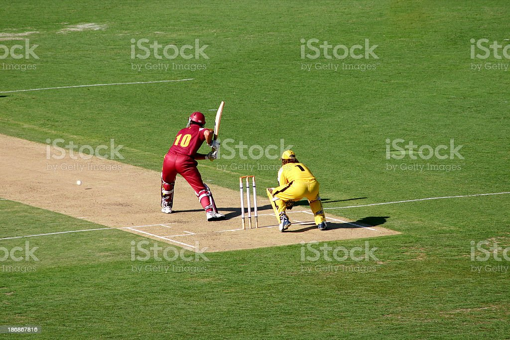 A batter up to bat in a cricket game stock photo
