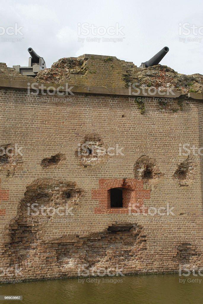 Battered cannon battery at Fort Pulaski stock photo