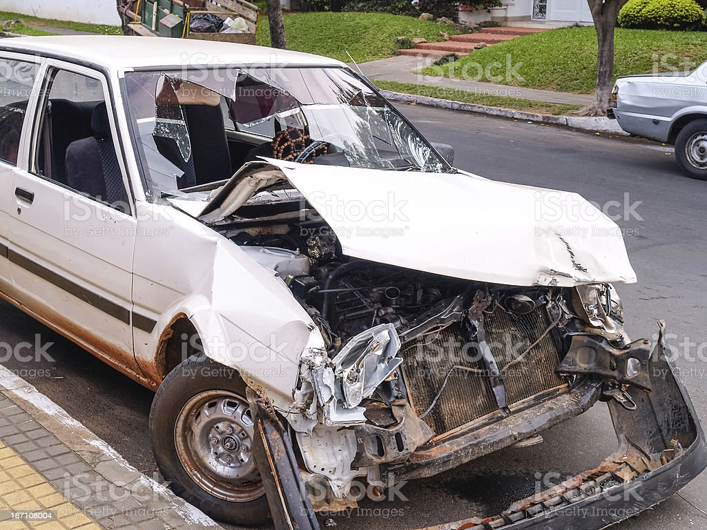 Battered car after an accident, Paraguay, South America royalty-free stock photo