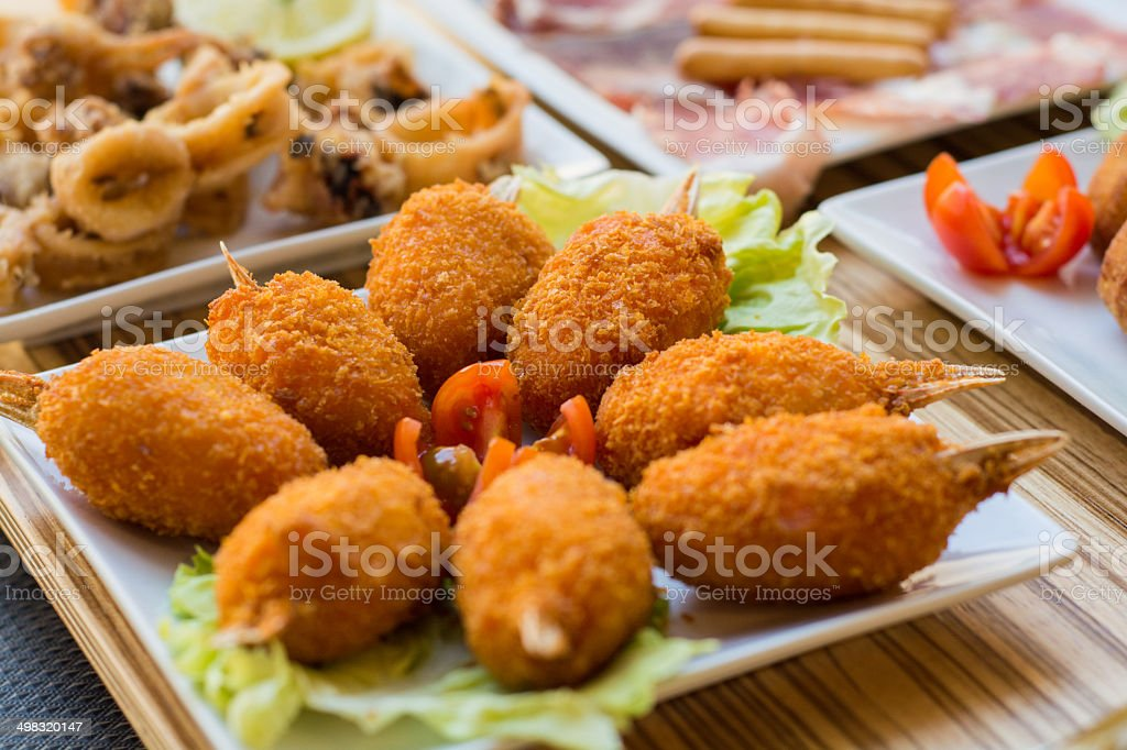 Battered Crab Legs with Salad stock photo
