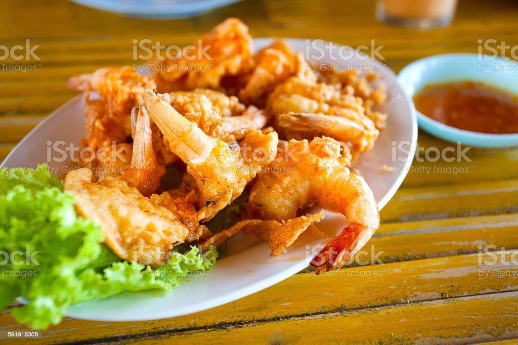 batter-fried prawns stock photo