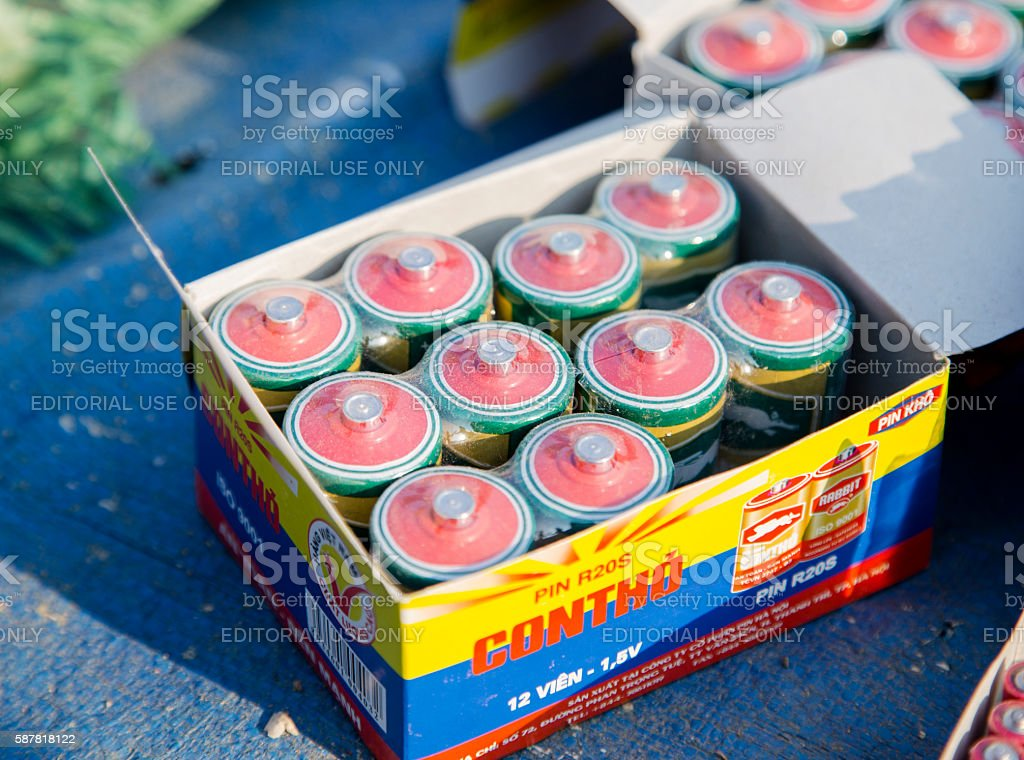 Batteries for sale stock photo