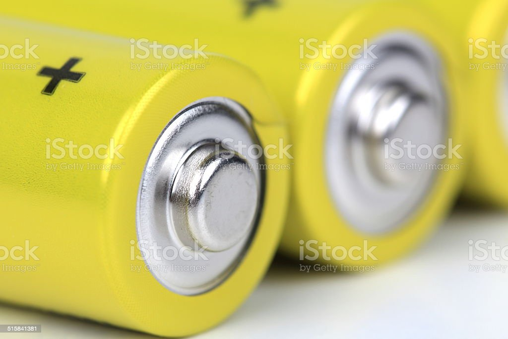 Batteries in selective focus stock photo