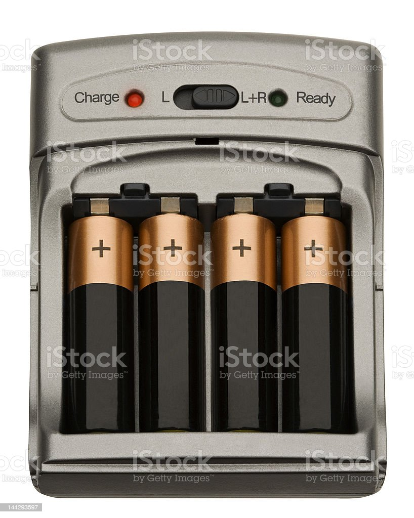 Batteries recharging stock photo