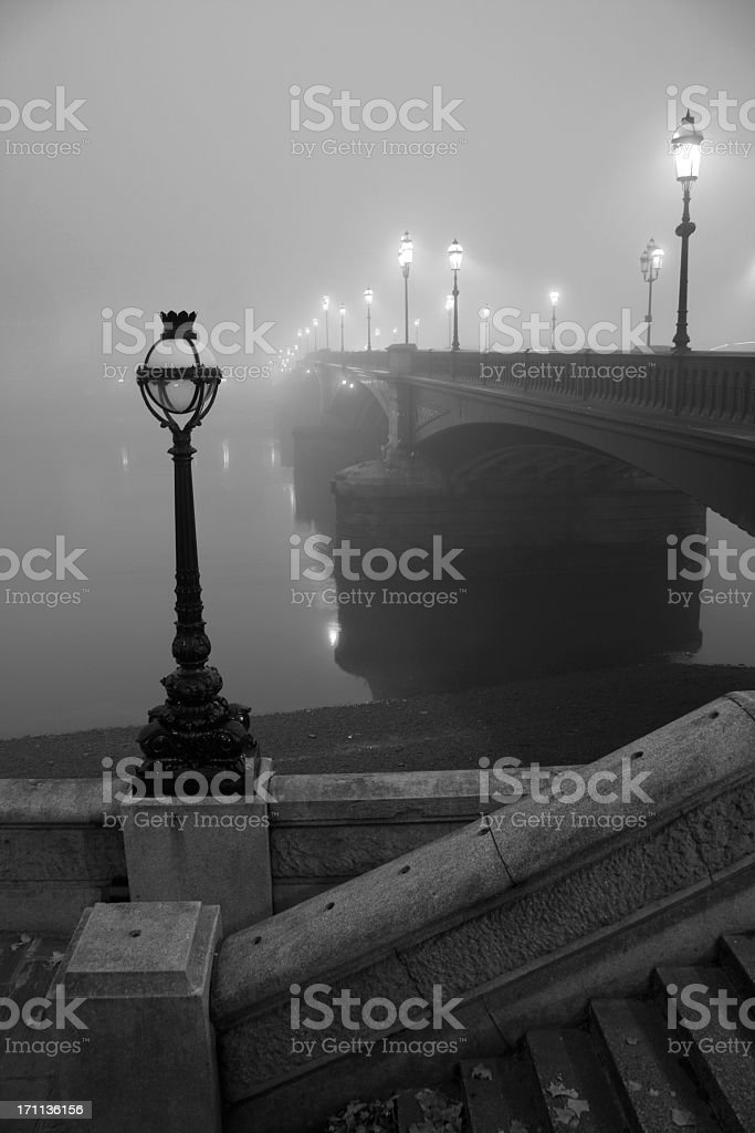 Battersea Bridge In The Fog stock photo