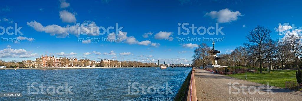 Battersea Park Thames London stock photo