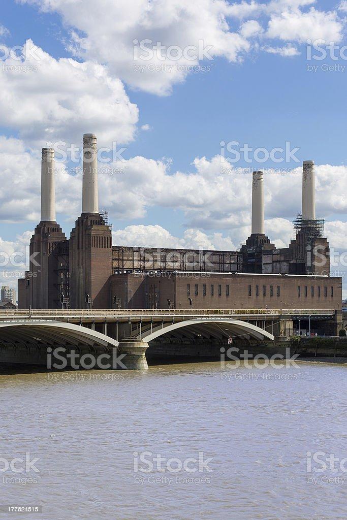 Battersea Power Station and Chelsea Bridge stock photo