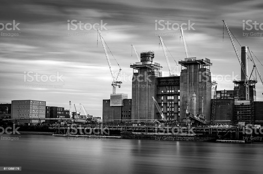 Battersea Power Station in grayscale stock photo