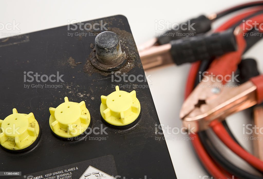 Battery and Jumper leads royalty-free stock photo
