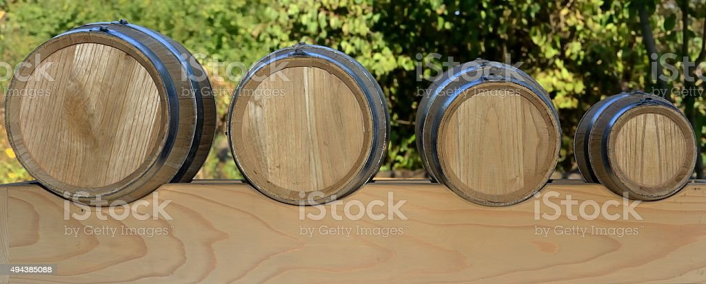Battery barrels for traditional balsamic vinegar of Modena stock photo
