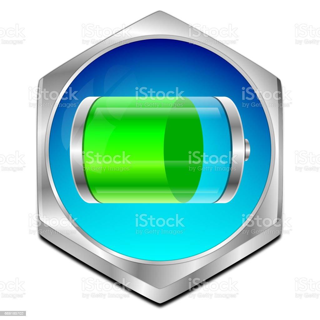 Battery Button - 3D illustration stock photo