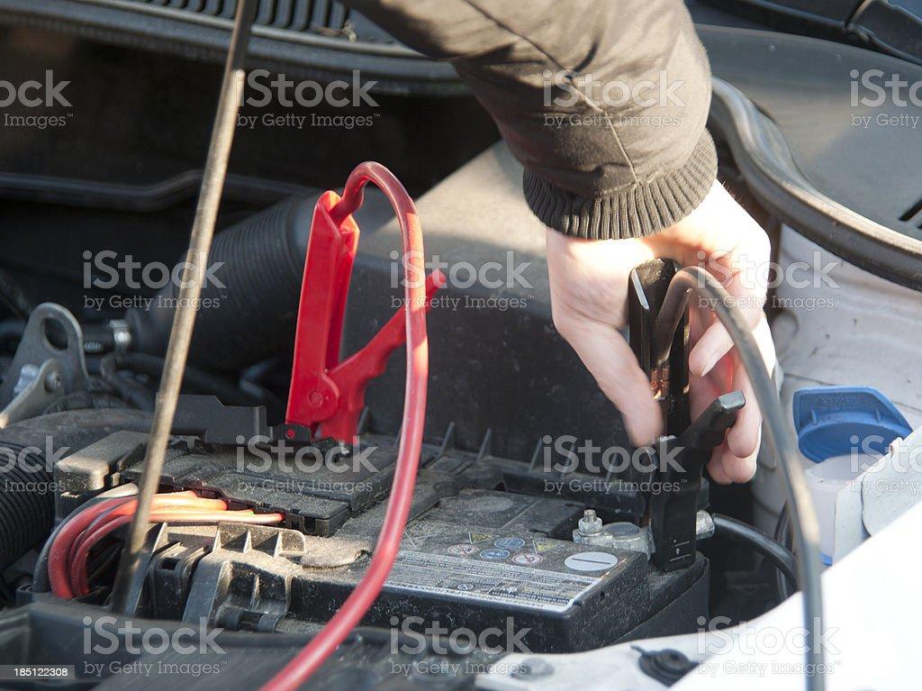 battery bypass - Batterie überbrücken stock photo