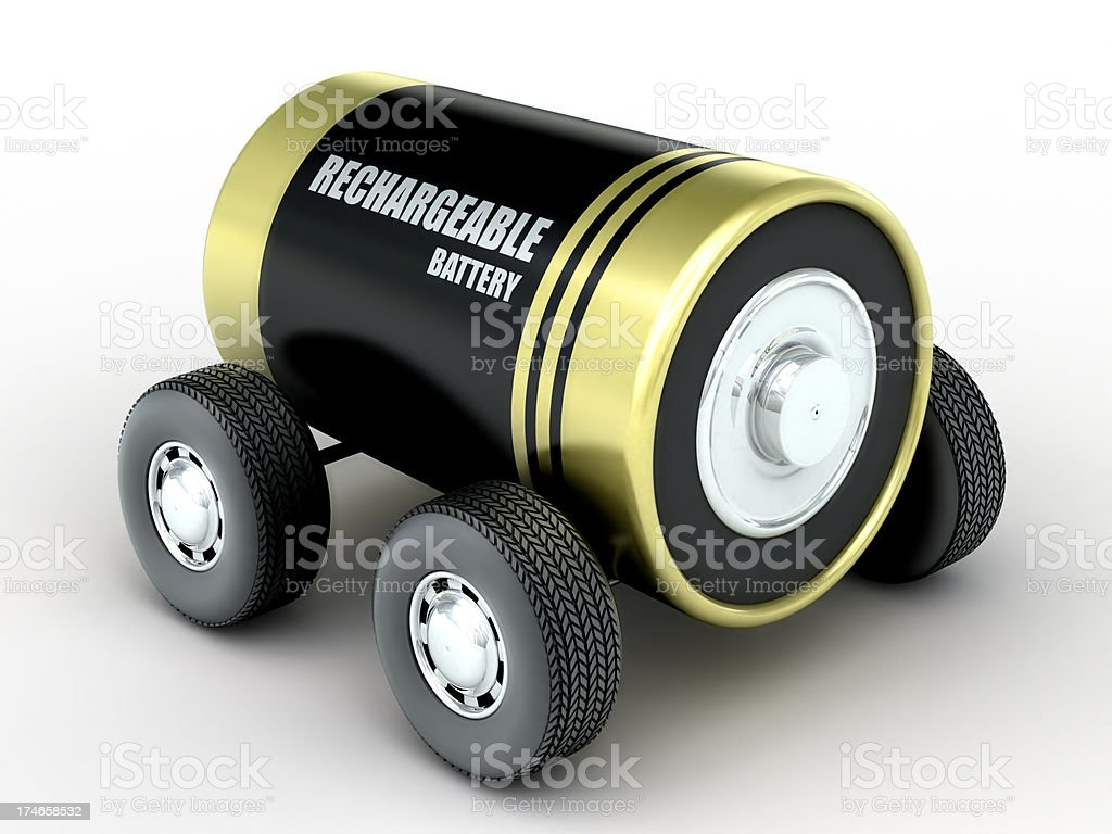 Battery Car concept (Clipping path included) royalty-free stock photo