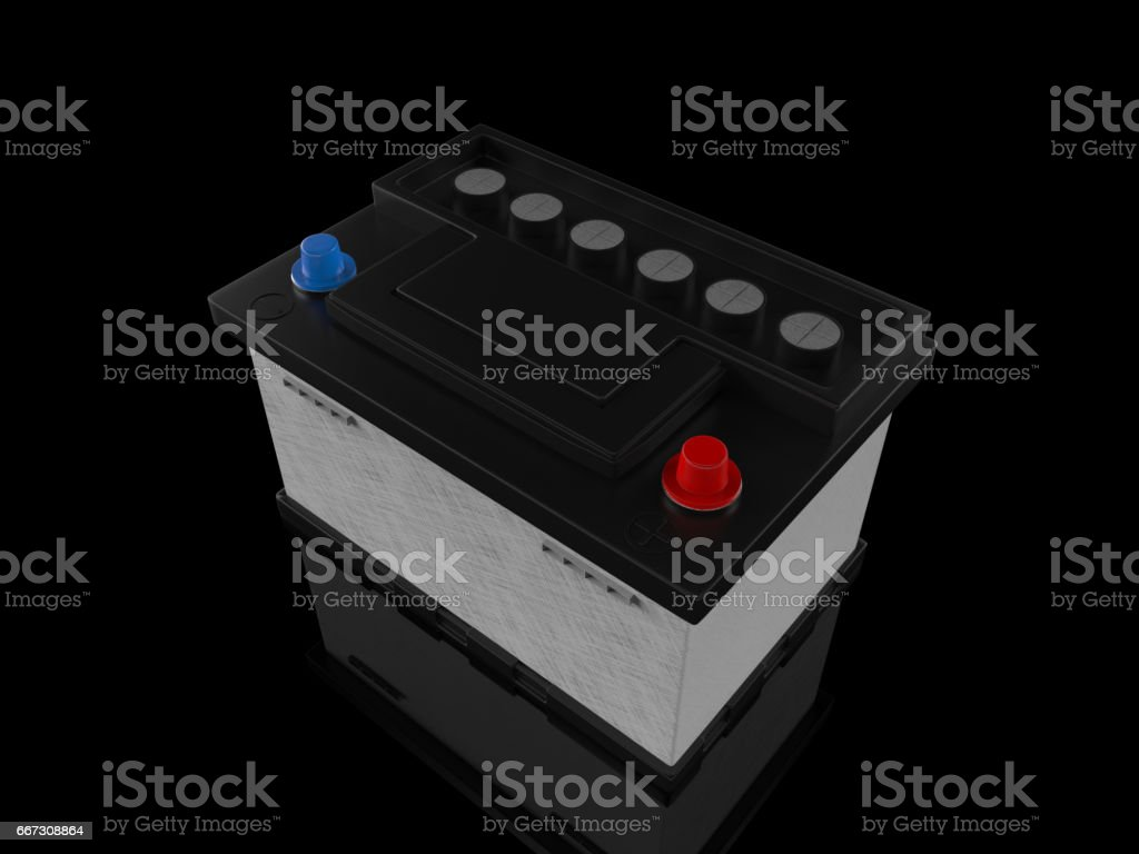 Battery car on white background. 3D rendering. stock photo