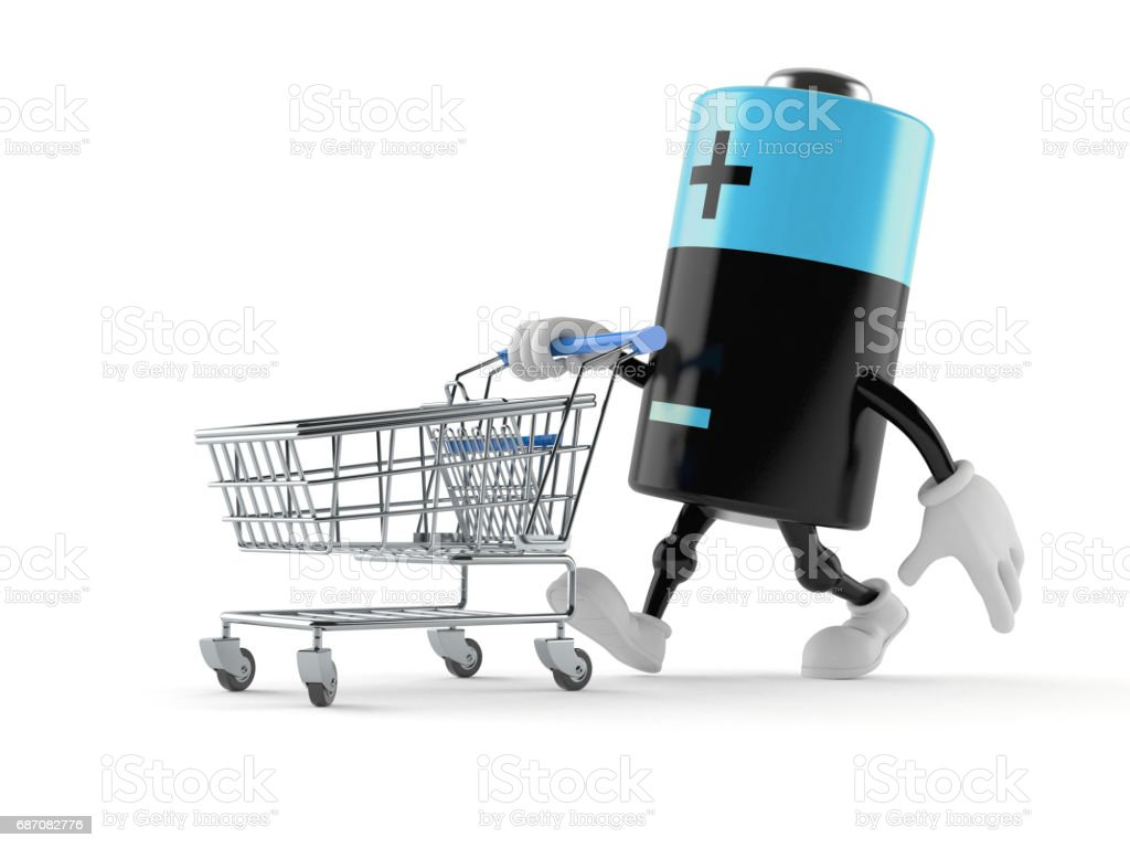 Battery character with shopping cart stock photo