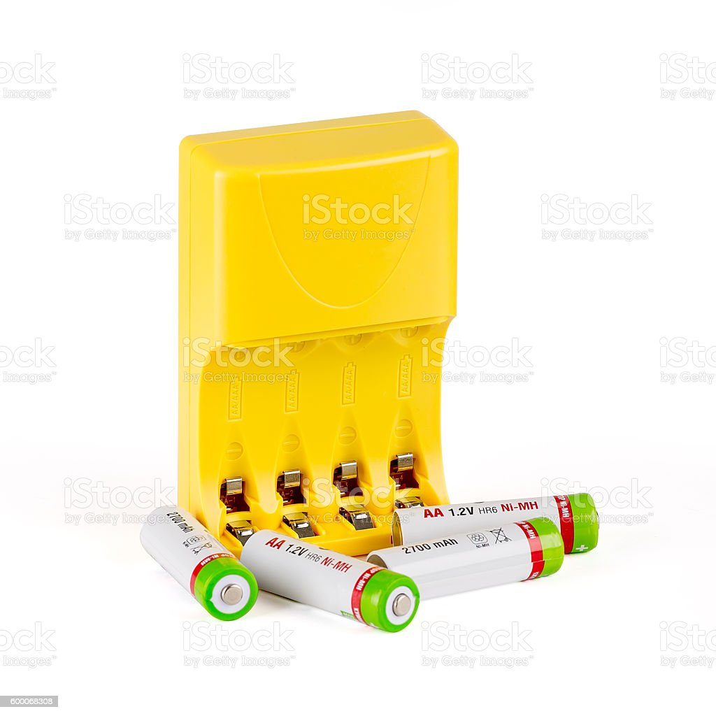 Battery charger with batteries stock photo