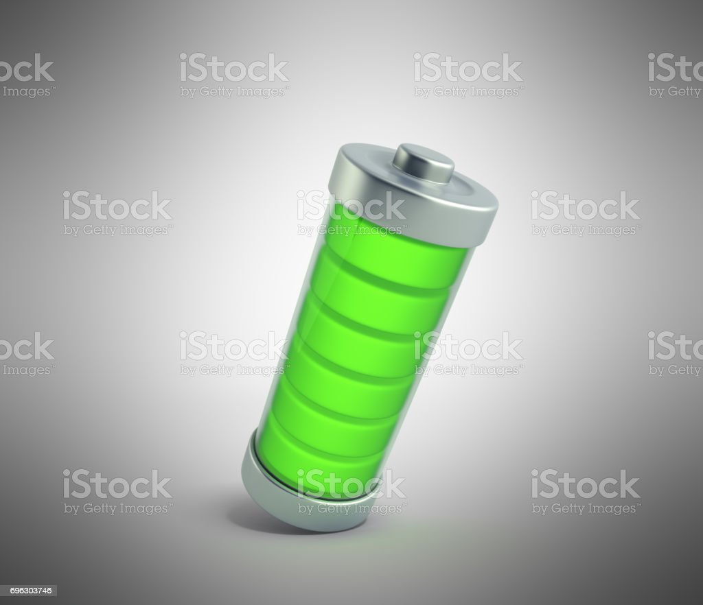 Battery charging Battery charge level indicators on green 3d illustration on white no shadow stock photo