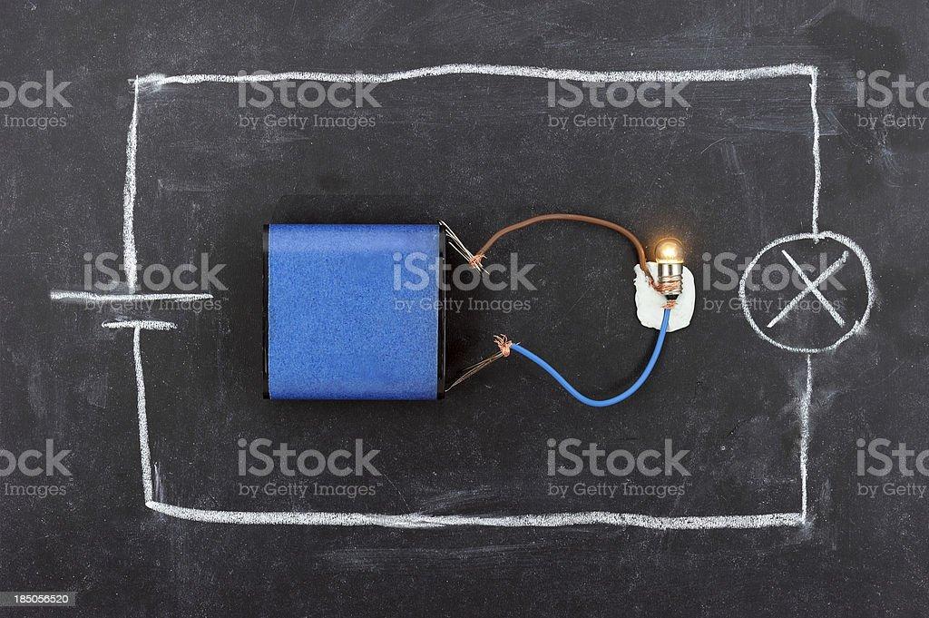 Battery Circuit on Blackboard stock photo