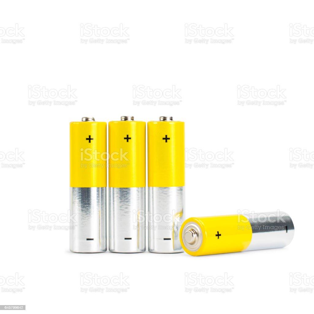 AA Battery Closeup on white Background stock photo
