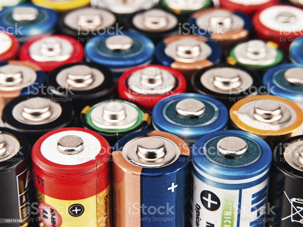 Battery colorful background stock photo