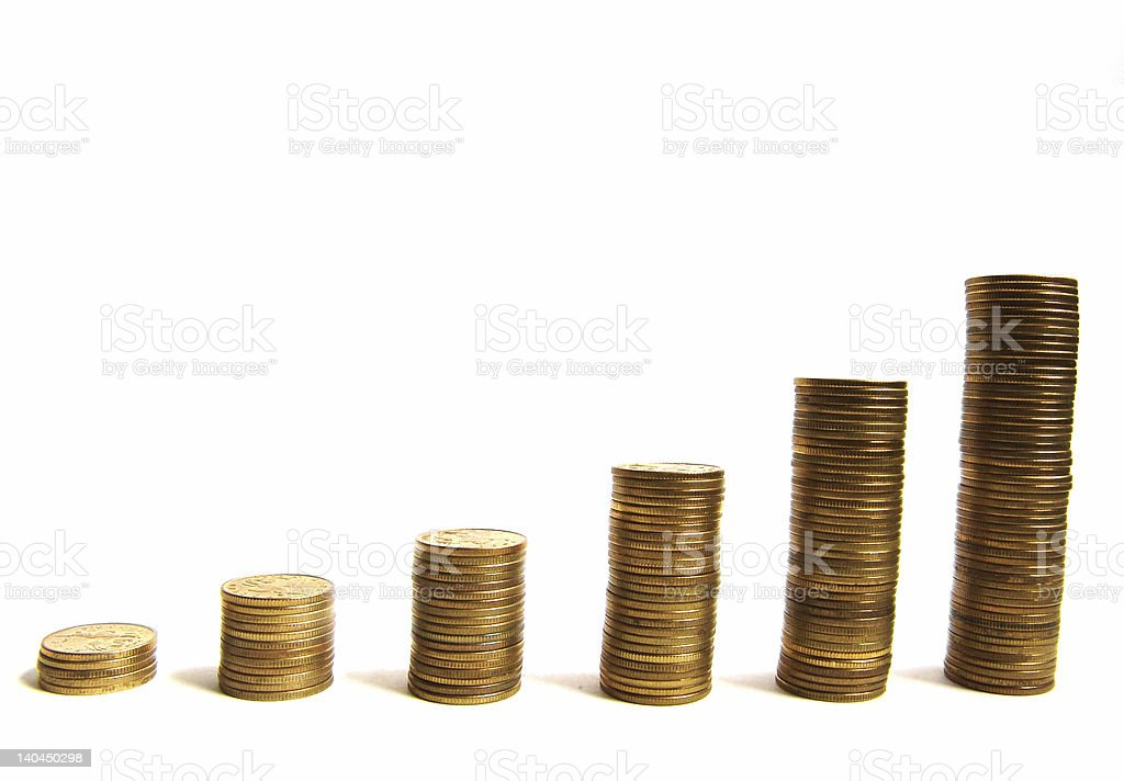 Coin piles royalty-free stock photo