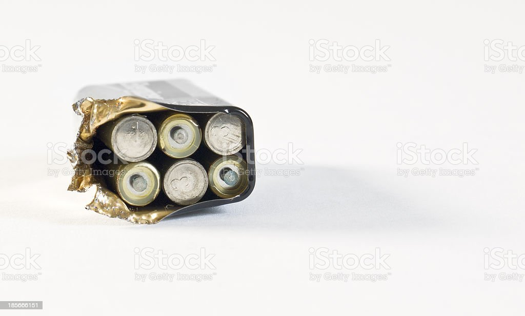 9V battery disassembled stock photo