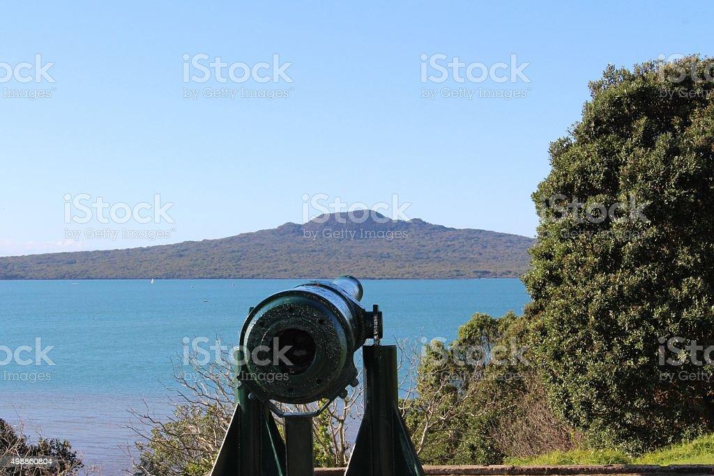Battery gun defending the coastline stock photo