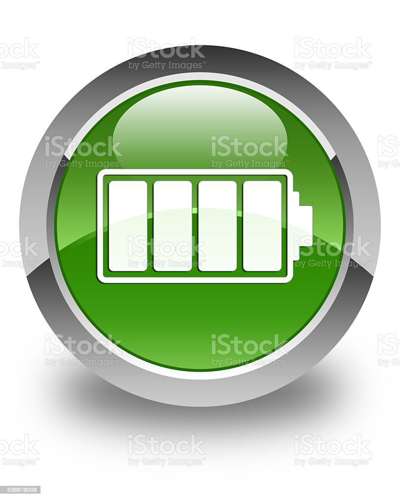 Battery icon glossy soft green round button stock photo