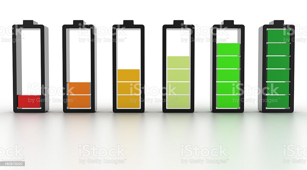 Battery icons of battery levels royalty-free stock photo