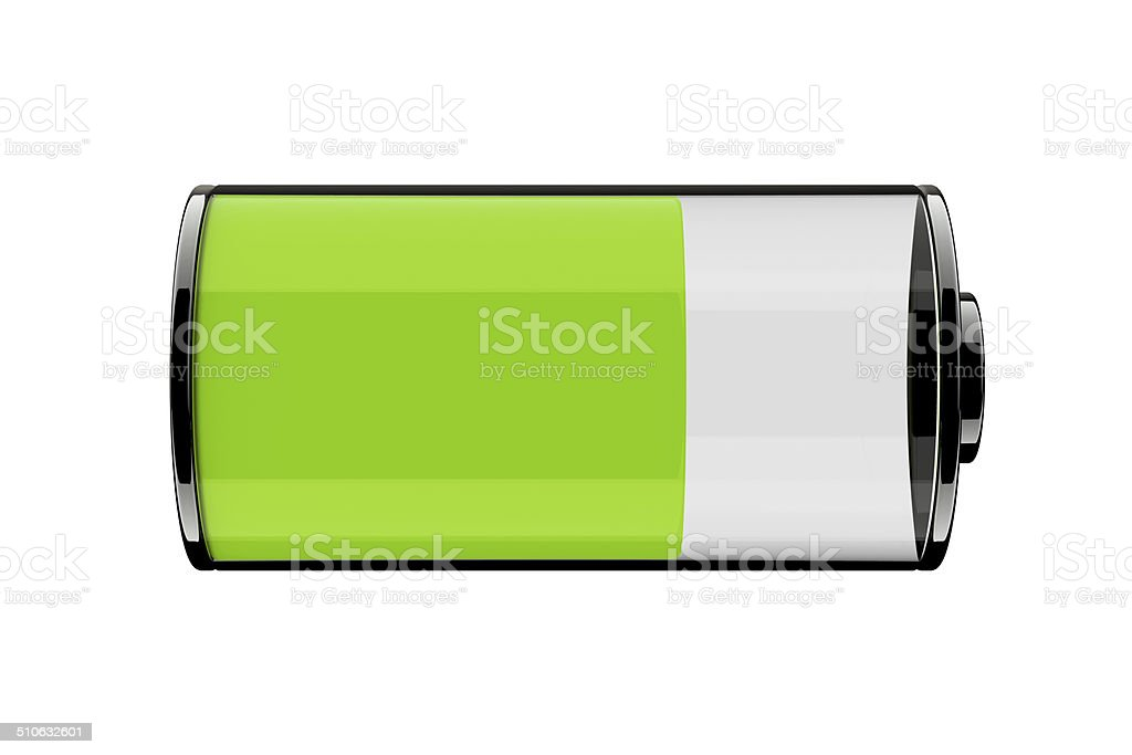 3D Battery icons with different charge level stock photo