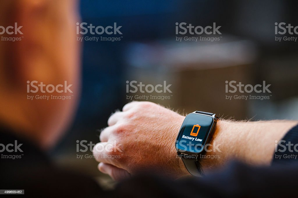 Battery Low Warning on a Smartwatch stock photo