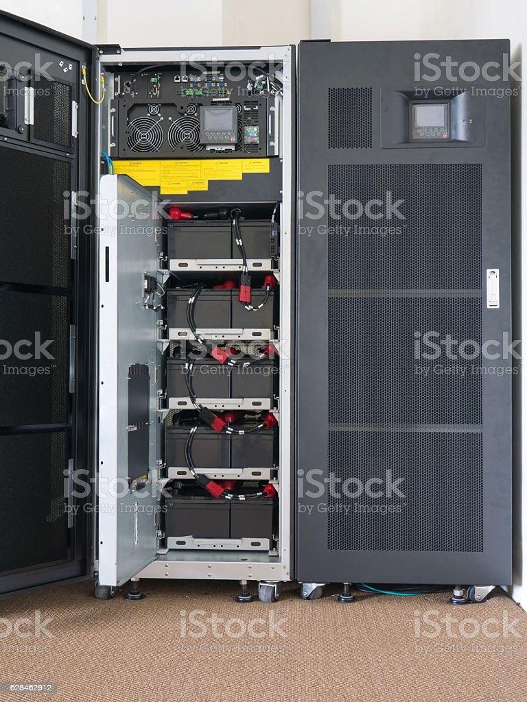 Battery of large uninterruptible Power Supply (UPS) stock photo