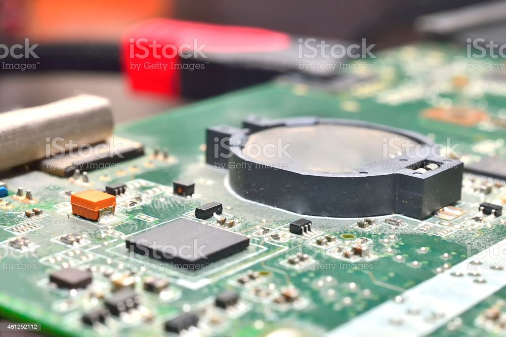 battery on  motherboard stock photo
