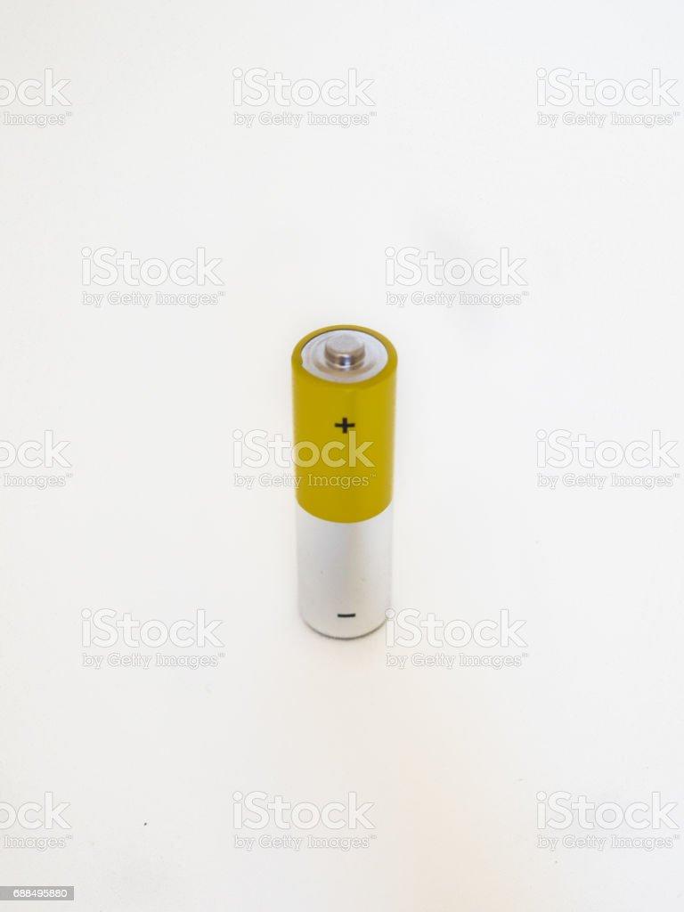 Battery on white background stock photo