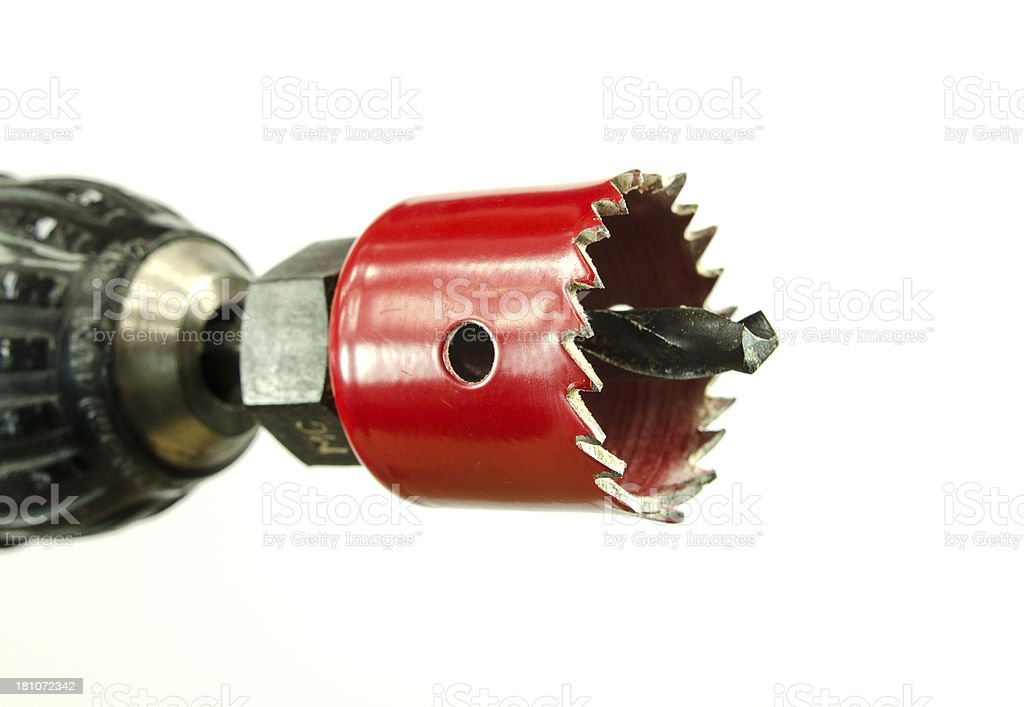 Battery Operated Drill and Hole Bit royalty-free stock photo