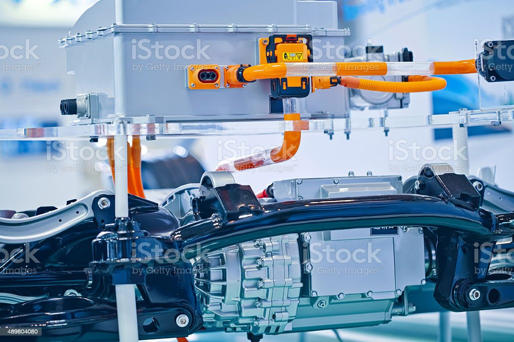 battery packs and engine in the the electric car stock photo