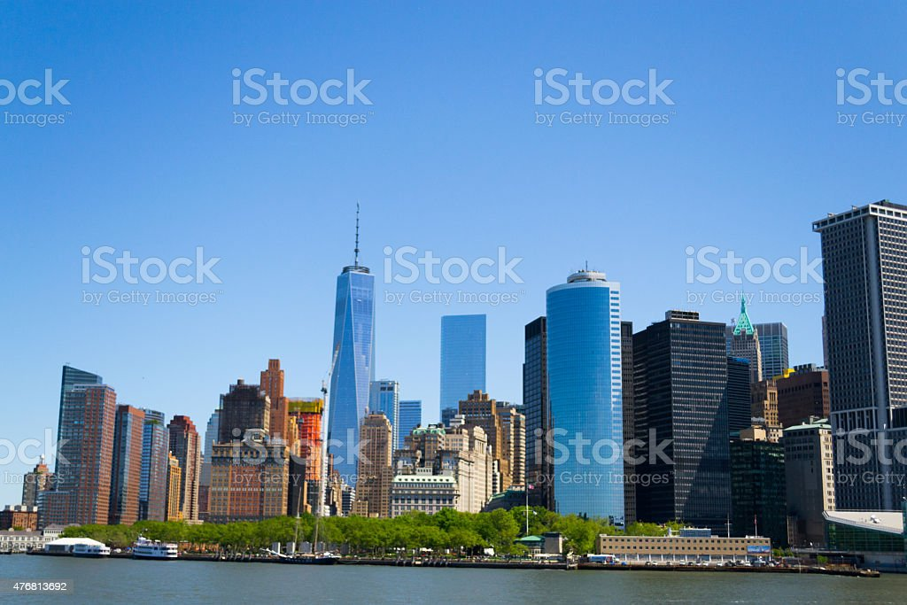 Battery Park and financial district stock photo